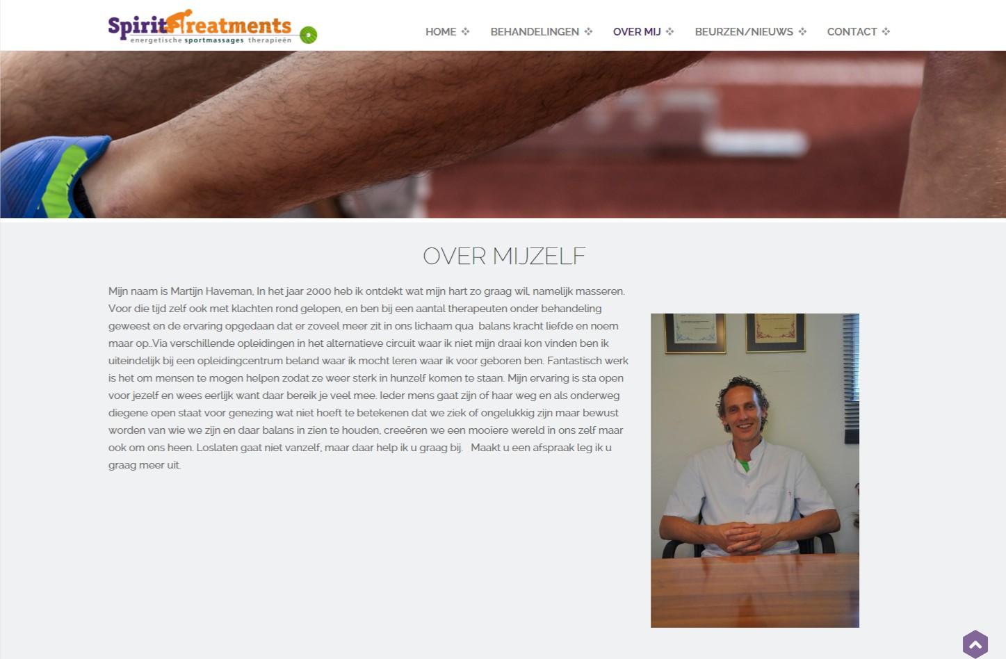 One Page website met active elementen +++www.spirit-treatments.nl