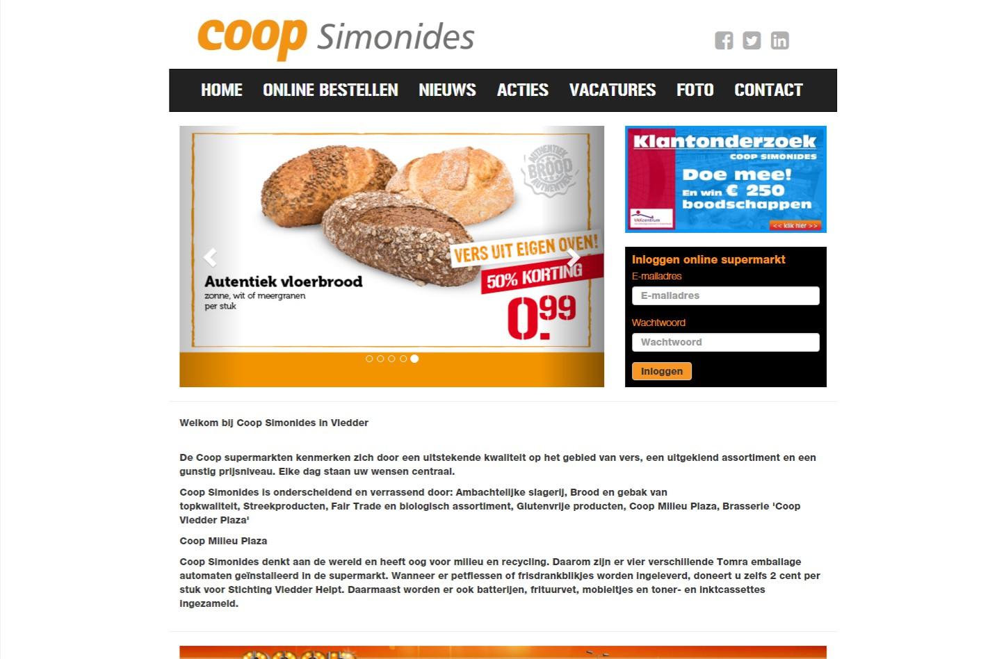 Automatische feed van aanbiedingen en banners vanaf de landelijke COOP website. Alle pagina's en banners kunnen via het CMS worden beheerd en toegevoegd. Bijzonder is de mogelijkheid om zelf aanbiedingen met een tijdstempel toe te voegen via het CMS +++www.simonides.nl