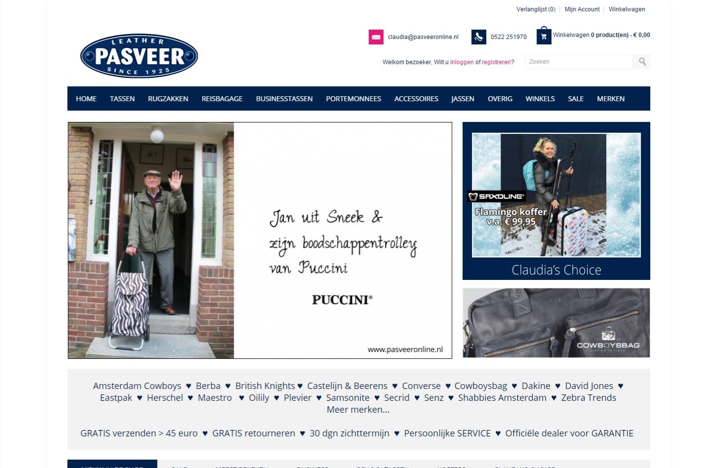 Webshop met voorraad en prijzen via het kassasysteem verbonden met 6 vestigingen +++www.pasveeronline.nl