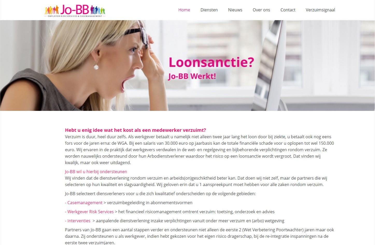 Mooie one page website met mobiele weergave. Via het OND CMS is de hele website zelf eenvoudig aan te passen. +++www.jo-bb.nl