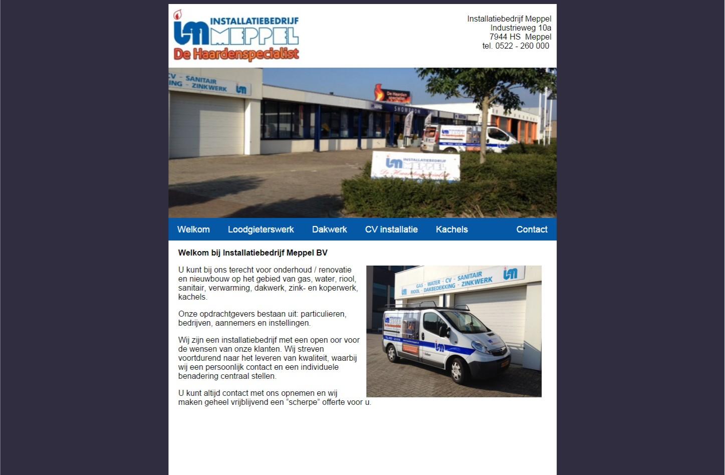 Website van € 299,00 met CMS en SEO Google Engine. Eenvoudig te beheren met hoofdmenu en oneindig submenu's aanmaken. Inclusief foto-albums en contactpagina. +++www.installatiebedrijfmeppel.nl