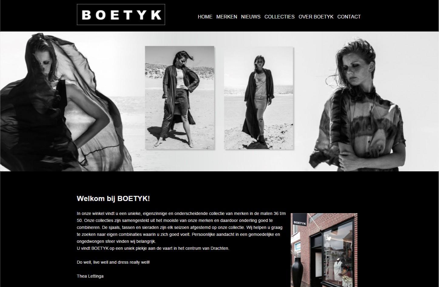 Website inclusief nieuwsbriefmodule in de zwarte uitvoering voor een mooie presentatie van de kledingcollecties. +++www.boetyk.nl