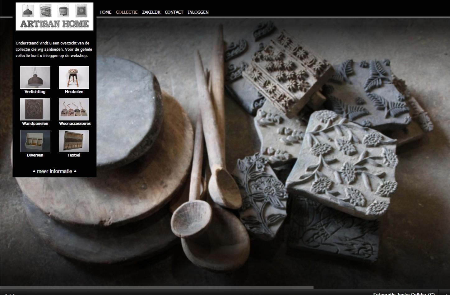 Website voor een mooie presentatie van de producten. Iedere pagina heeft zijn eigen fotoshow. +++www.artisanhome.nl