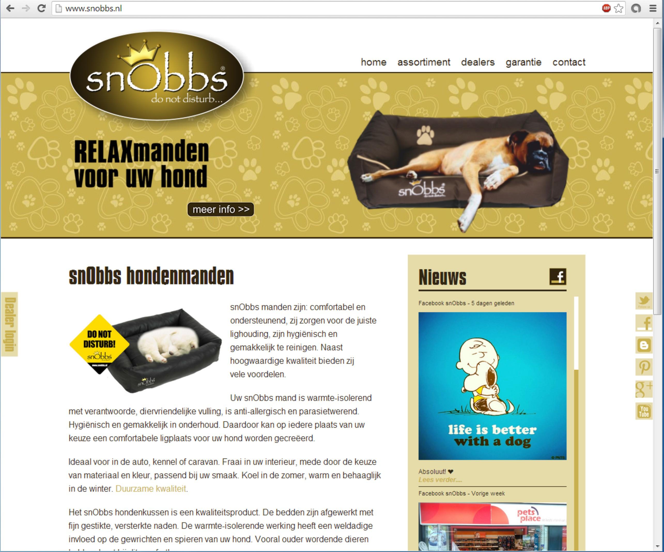 Website met productweergave en actieve dealerkaart +++www.snobbs.nl