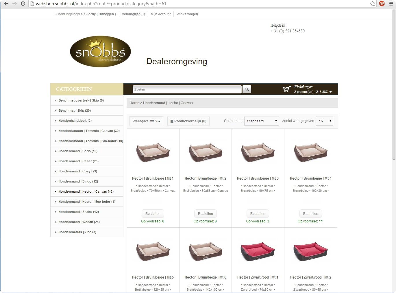 Dealerbestelshop met volledige administratie +++www.webshop.snobbs.nl