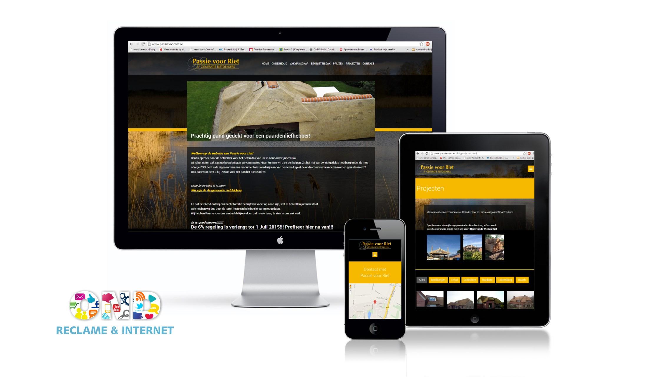 Nieuwe website met tablet en mobiele weergave voor PassievoorRiet inclusief contactformulier, foto-albums en submenu +++www.passievoorriet.nl