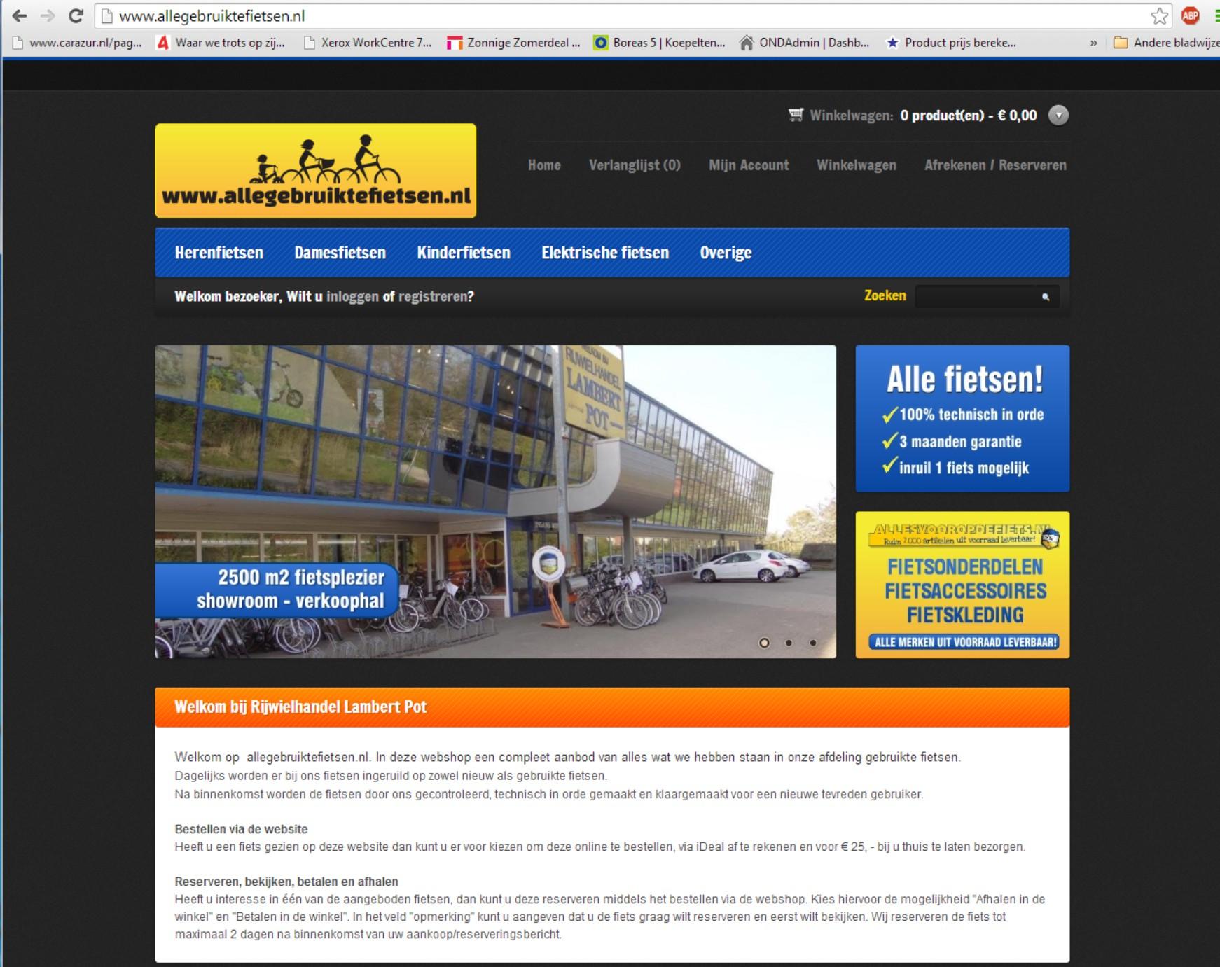 Responsive webshop met reserveringsmogelijkheid +++www.allegebruiktefietsen.nl
